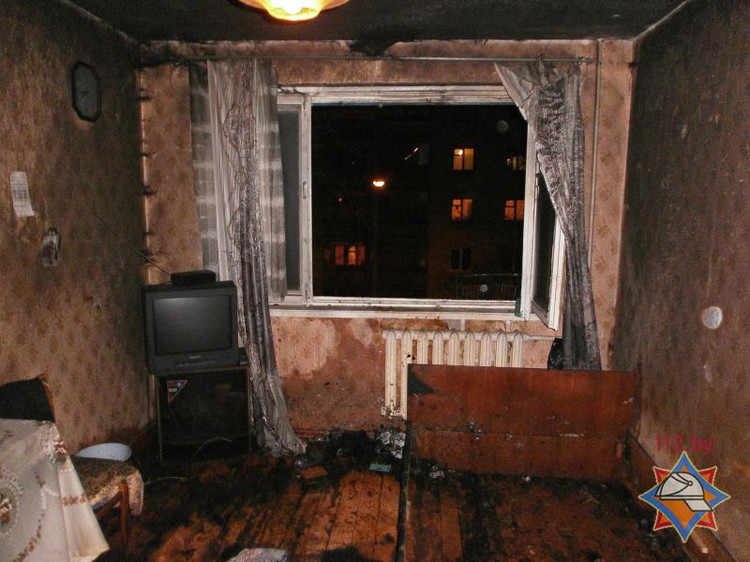 На пожаре в квартире спасен брестчанин