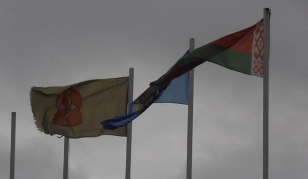 В Пинске герб города уже несколько месяцев висит вверх тормашками