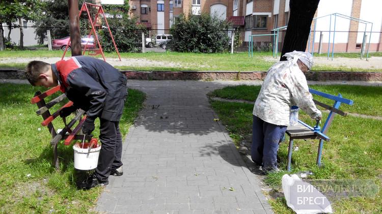 В одном из дворов покрасили поломанные скамейки