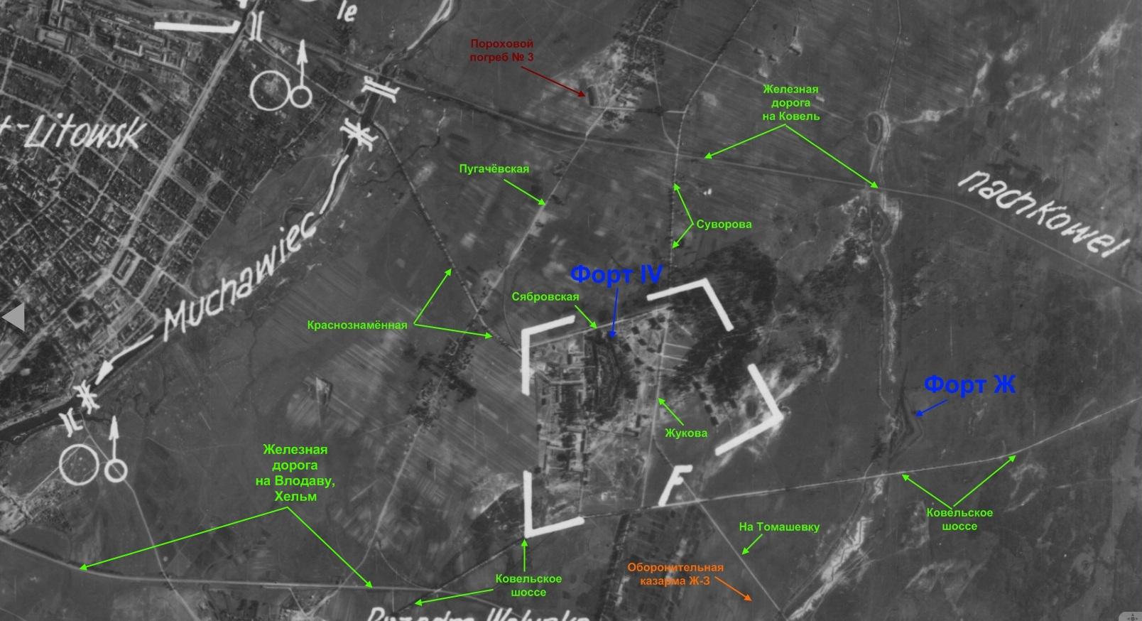 Форты Брестской крепости на старых картах с привязкой к современной местности