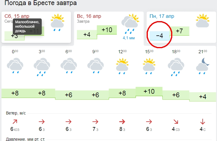 На Пасху, 16 апреля, Брест ждёт дождливая и ветреная погода