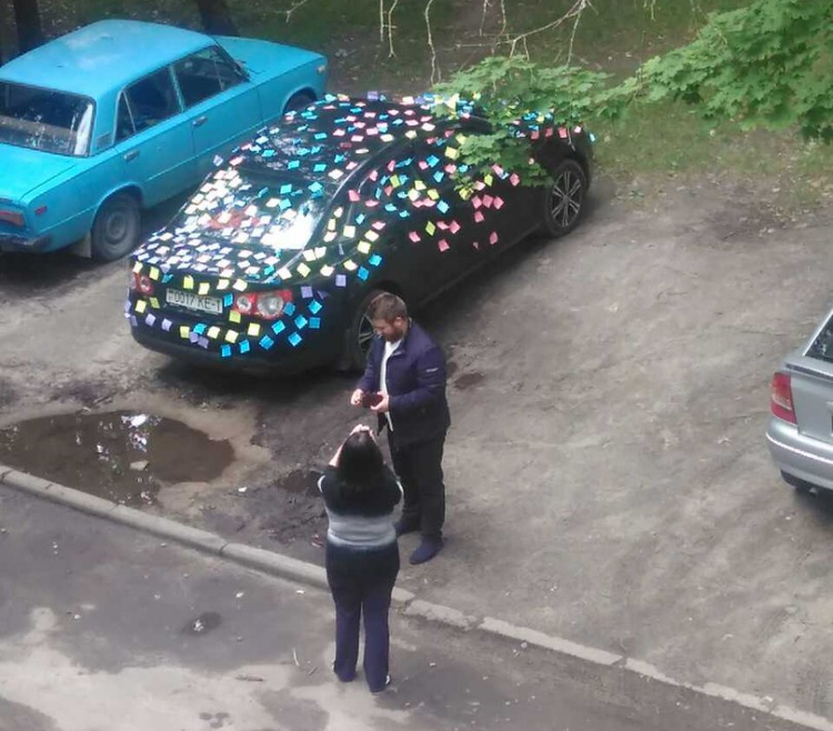 Фотофакт: брестчанину на день рождения обклеили автомобиль
