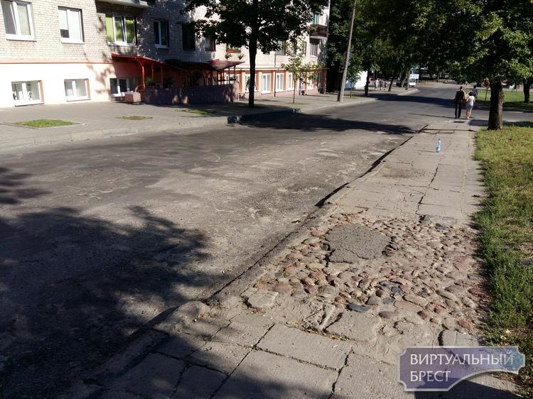 Мостовая из булыжника в Бресте? Последний метр? Необычный тротуар на Советской