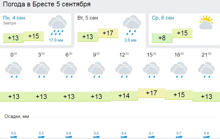 Дожди и порывистый ветер ожидаются в Беларуси 4 сентября