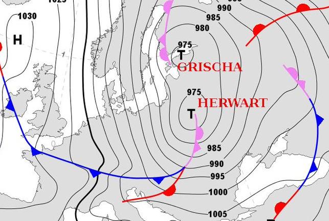 Два циклона -  Гриша и Хервард принесут оранжевый уровень и дожди в воскресенье