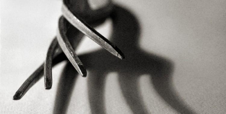 Сожитель угрожал убить свою женщину вилкой. Орудие преступления изъято