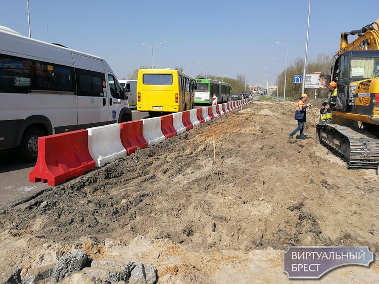 На перекрёстке ул. Махновича и Варшавское шоссе началась реконструкция