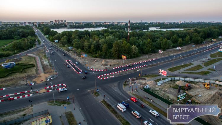 Реконструкция перекрестка на Варшавском шоссе, вид с квадрокоптера
