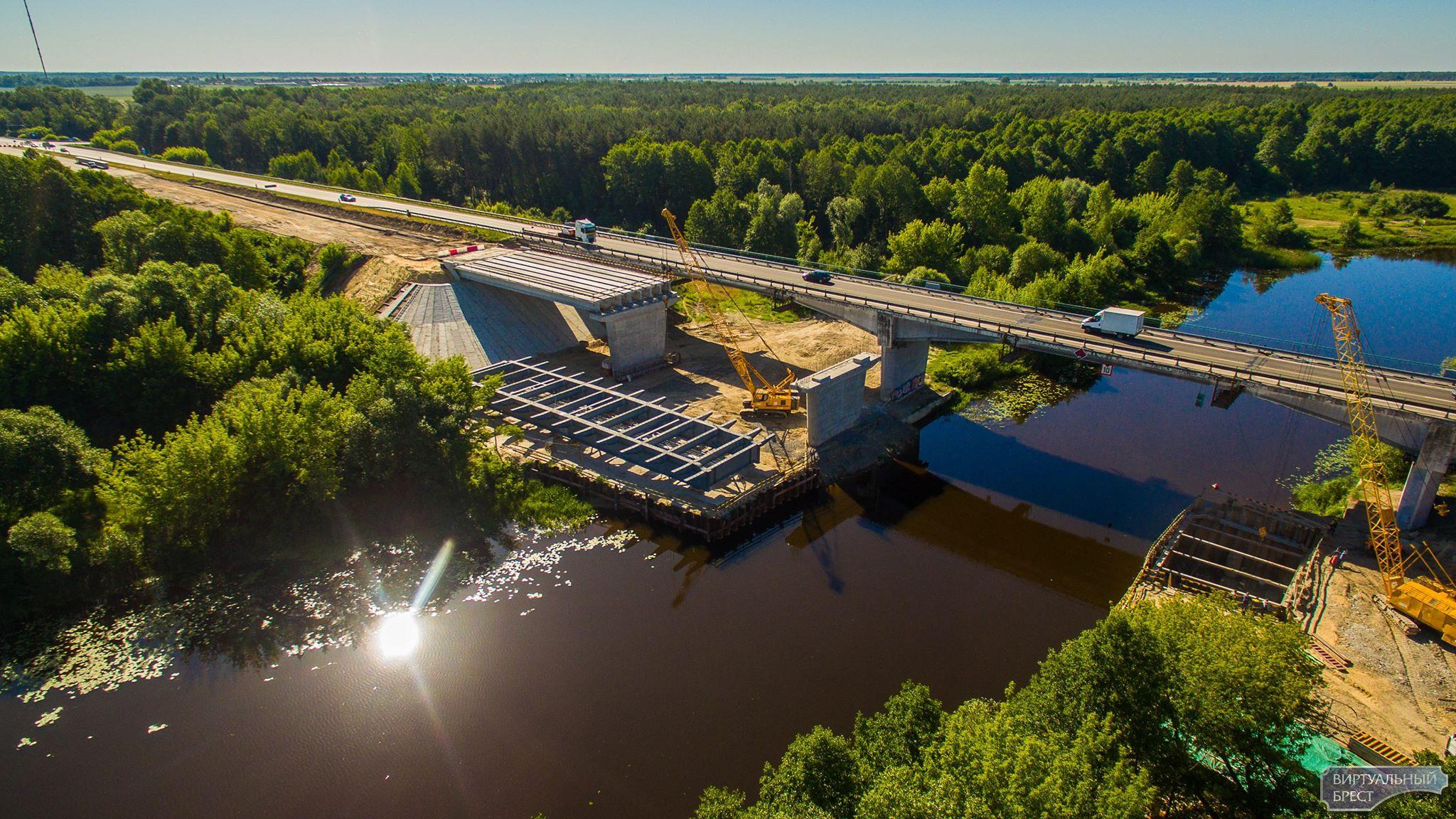 Инспектируем возведение моста через Мухавец у д. Бульково с высоты