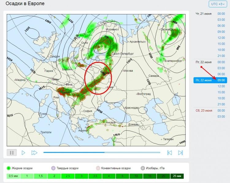 22 июня понижение температуры и в отдельных районах сильные дожди. В Бресте тоже. Может быть