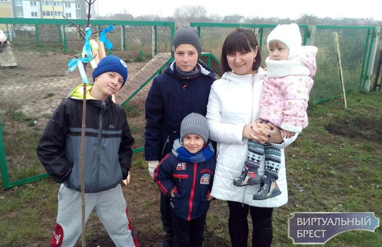 На ул. Луцкой в новом микрорайоне многодетные семьи высаживают деревья