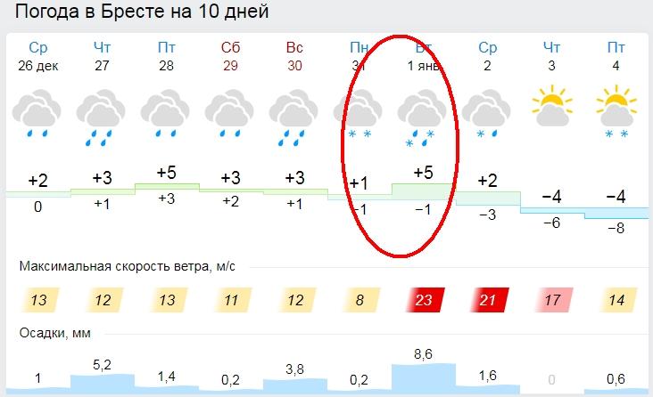В новогоднюю ночь в Бресте будет облачно и около 0 °C