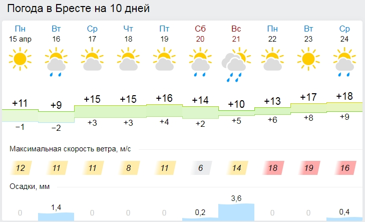 Погода в Бресте на неделю: во вторник дожди, к выходным до +17