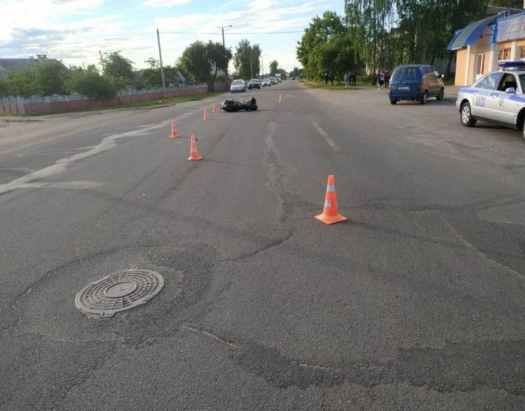 ДТП в Барановичах: опрокинулся мотоциклист