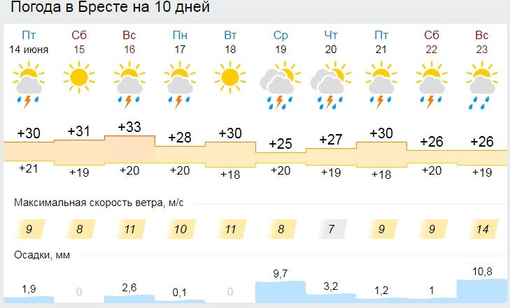 На выходных в Бресте обещают (вы не поверите)  жару и дождь