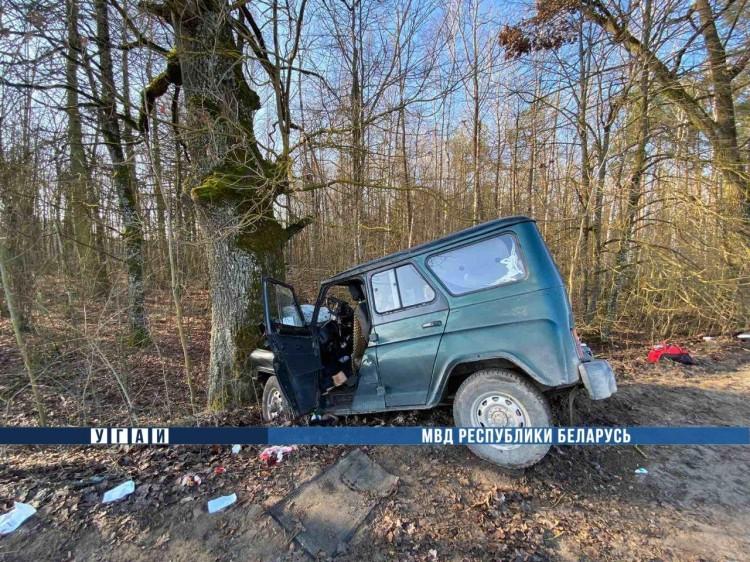Водитель УАЗ не справился с управлением и врезался в дерево: трое пострадавших