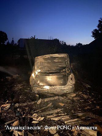 В Ляховичском районе на пожаре сгорела машина
